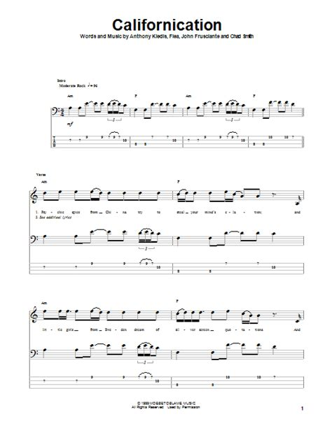 Californication Tablature Basse par Red Hot Chili Peppers