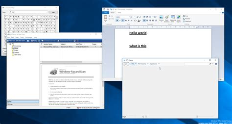 Windows 10's WordPad, Character map, Fax and Scan, XPS