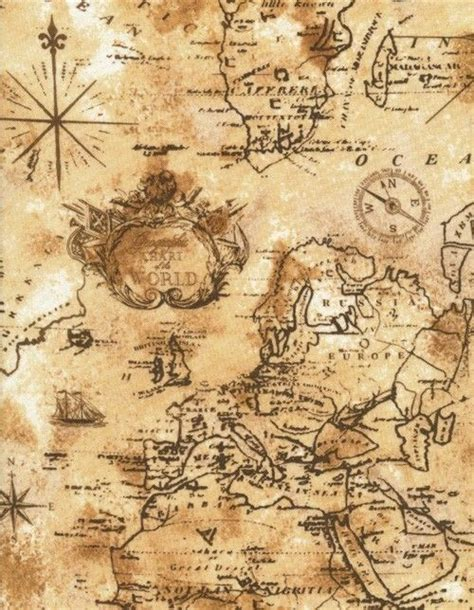 Timeless Treasures World Map Fabric in Sand by