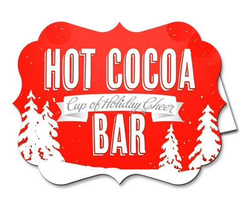 Vintage Snow Party Hot Cocoa Bar Buffet Signs