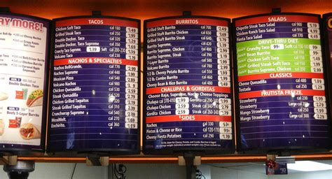 Fast Food Menus with Calories Included - Taco Bell
