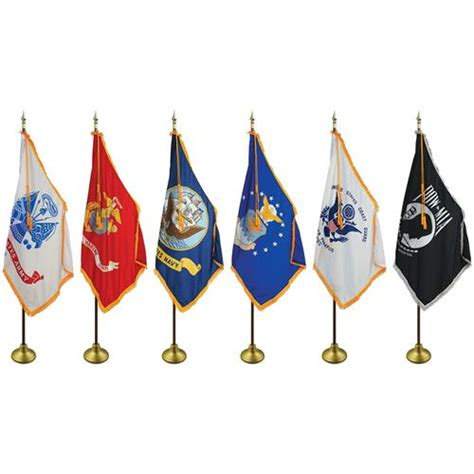 MILITARY 3 ft x 5 ft Complete Indoor / Parade Flag Set $169